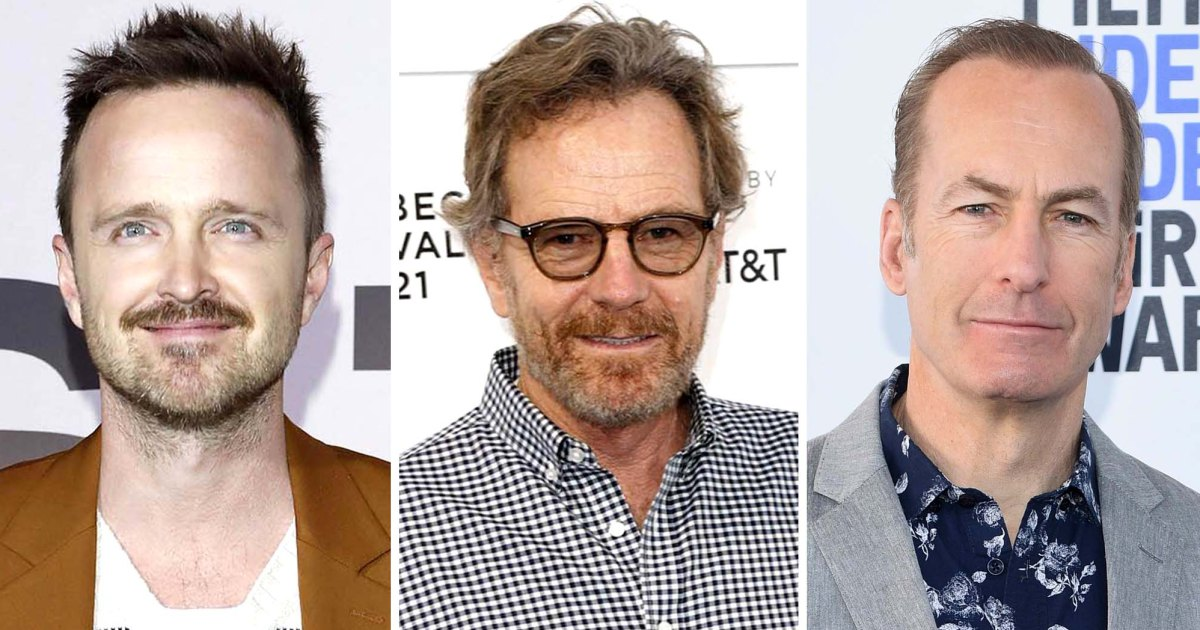 Bob Odenkirk is greeted by Aaron Paul and Bryan Cranston, 'Breaking Bad' co-stars