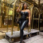 Dolly castro looks stunning in black leather outfit that really highlights her flawless curves